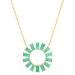 Eriness Jewelry Emerald Baguette Flower Necklace