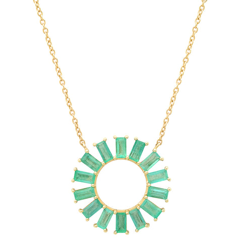 Yellow Gold Emerald Baguette Color Wheel Necklace
