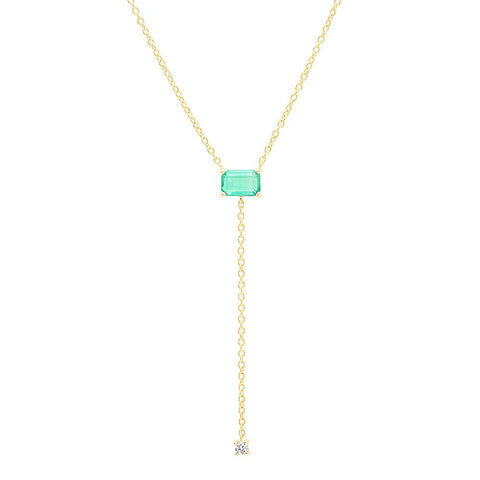 14K Yellow Gold Solitaire Emerald Lariat