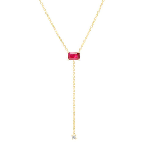 Eriness Jewelry Solitaire Ruby Lariat