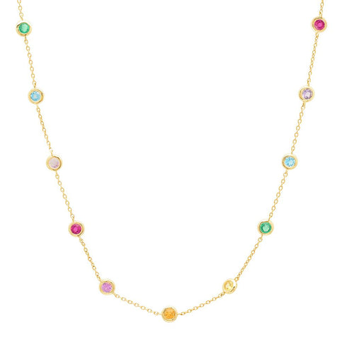 Eriness Jewelry Rainbow Bezel Set Necklace