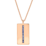 Rose Gold Blue Sapphire Baguette Dog Tag Necklace