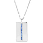 White Gold Blue Sapphire Baguette Dog Tag Necklace