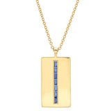 Yellow Gold Blue Sapphire Baguette Dog Tag Necklace