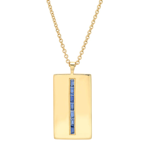 Eriness Jewelry Blue Sapphire Baguette Dog Tag Necklace
