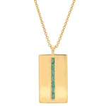 Yellow Gold Emerald Baguette Dog Tag Necklace