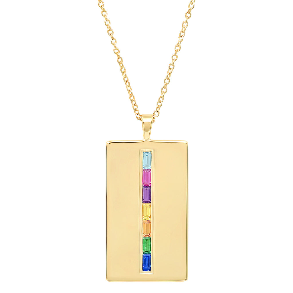 ed3ffeab7aed40 Eriness Jewelry Rainbow Baguette Dog Tag Necklace