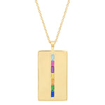 Eriness Jewelry Rainbow Baguette Dog Tag Necklace