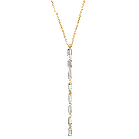 Eriness Jewelry Diamond Baguette Link Necklace