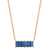 Rose Gold Blue Sapphire Baguette Staple Necklace