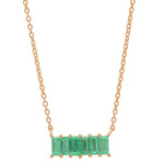 Rose Gold Emerald Baguette Staple Necklace