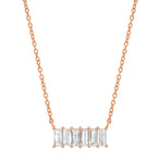 Rose Gold Diamond Baguette Staple Necklace