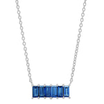 White Gold Blue Sapphire Baguette Staple Necklace