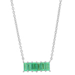 Eriness Jewelry Emerald Baguette Staple Necklace