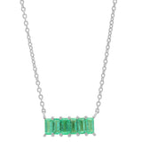White Gold Emerald Baguette Staple Necklace