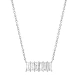 White Gold Diamond Baguette Staple Necklace