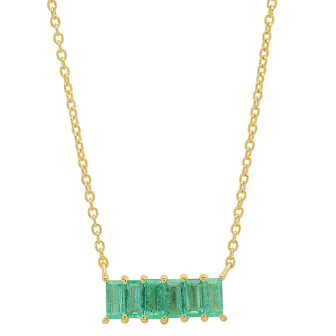 Yellow Gold Emerald Baguette Staple Necklace