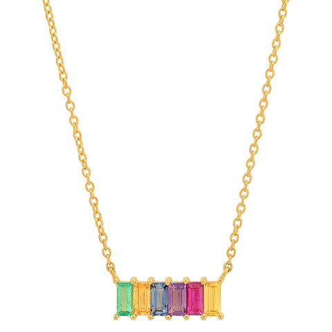 Yellow Gold Multi Colored Baguette Staple Necklace