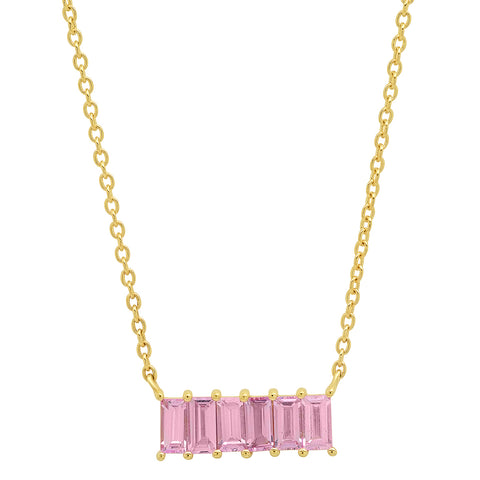 Yellow Gold Pink Sapphire Baguette Staple Necklace
