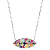White Gold Multi Colored Evil Eye Necklace