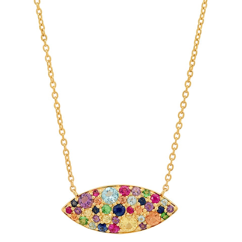 Eriness Jewelry Multi Colored Evil Eye Necklace