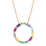 Rose Gold Multi Colored Baguette Circle Necklace