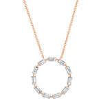 Rose Gold Diamond Baguette Circle Necklace