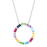 White Gold Multi Colored Baguette Circle Necklace