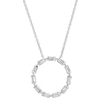 White Gold Diamond Baguette Circle Necklace