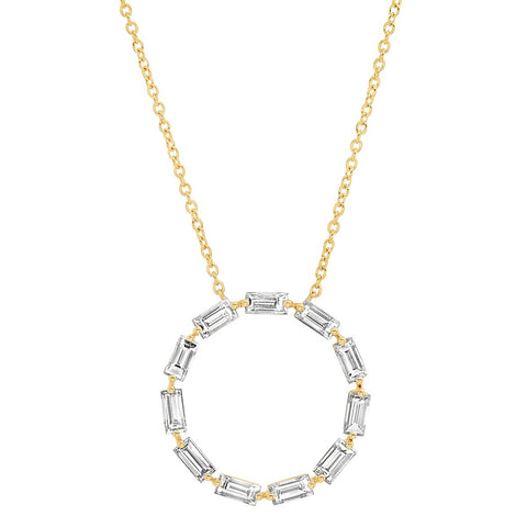 Yellow Gold Diamond Baguette Circle Necklace