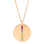 Rose Gold Multi Colored Baguette Circle Dog Tag Necklace