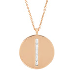 Rose Gold Diamond Baguette Circle Dog Tag Necklace