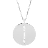 White Gold Diamond Baguette Circle Dog Tag Necklace