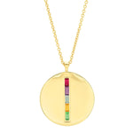 Yellow Gold Multi Colored Baguette Circle Dog Tag Necklace