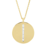 Yellow Gold Diamond Baguette Circle Dog Tag Necklace