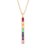 Rose Gold Rainbow Baguette Stick Necklace