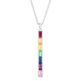 White Gold Rainbow Baguette Stick Necklace