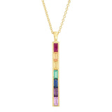 Yellow Gold Rainbow Baguette Stick Necklace