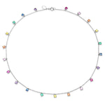 White Gold Infinite Rainbow Charm Necklace
