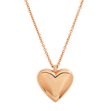 Rose Gold Reversible Diamond and Gold Puffy Heart Necklace