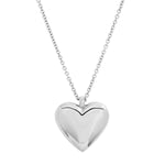 White Gold Reversible Diamond and Gold Puffy Heart Necklace