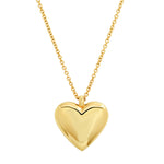 Yellow Gold Reversible Diamond and Gold Puffy Heart Necklace