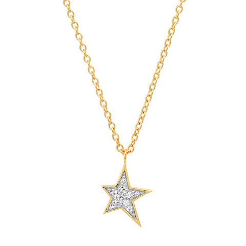 14K Yellow Gold Diamond Star Charm Necklace