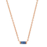 14K Rose Gold Solitaire Blue Sapphire Baguette Necklace