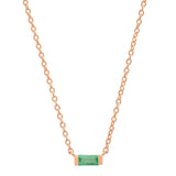 14K Rose Gold Solitaire Emerald Baguette Necklace