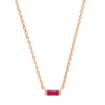 14K Rose Gold Solitaire Ruby Baguette Necklace