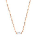 14K Rose Gold Solitaire Diamond Baguette Necklace