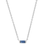14K White Gold Solitaire Blue Sapphire Baguette Necklace