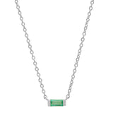 14K White Gold Solitaire Emerald Baguette Necklace