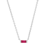 14K White Gold Solitaire Ruby Baguette Necklace